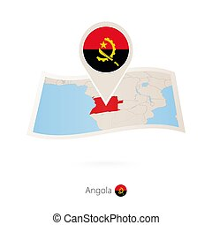 Folded paper map of Angola with flag pin of Angola.