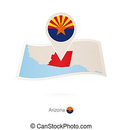 Folded paper map of Arizona U.S. State with flag pin of Arizona.