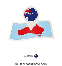 Folded paper map of Australia with flag pin of Australia.