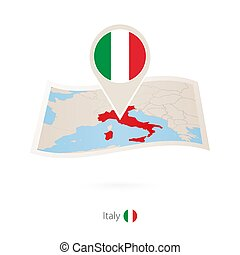 Folded paper map of Italy with flag pin of Italy.