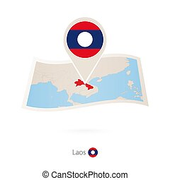 Folded paper map of Laos with flag pin of Laos. Vector...