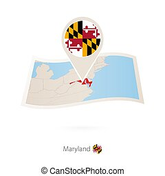 Folded paper map of Maryland U.S. State with flag pin of Maryland.