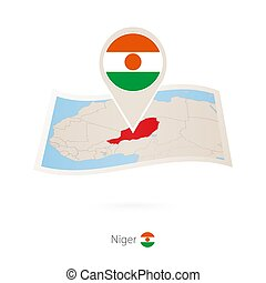 Folded paper map of Niger with flag pin of Niger. Vector...