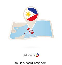 Folded paper map of Philippines with flag pin of Philippines.