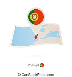 Folded paper map of Portugal with flag pin of Portugal.