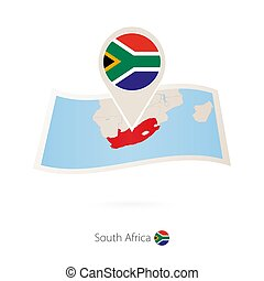 Folded paper map of South Africa with flag pin of South Africa.