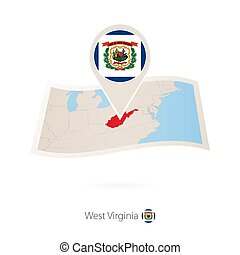 Folded paper map of West Virginia U.S. State with flag pin of West Virginia.