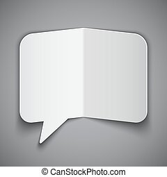 Folded Paper Speech Bubble - White paper speech bubble on...