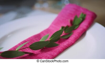 folded pink napkin with a green branch lying on a white plate