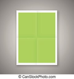 Folded Poster Template. Mockup Ready For Your Design. Vector