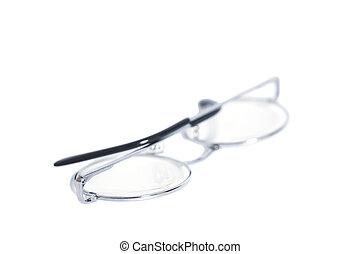 Folded round eyeglasses isolated on white background