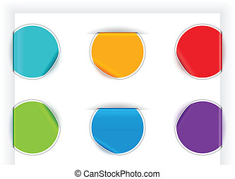 Folded Stickers - Folded stickers in different colors. EPS...