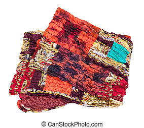 folded stitched red brown patchwork scarf isolated