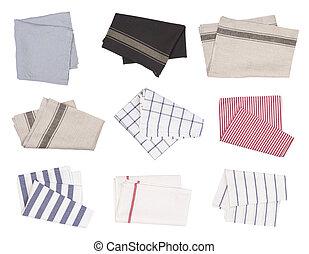 Folded tea towels isolated on white background