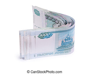 Folded thousandths russian rouble bills