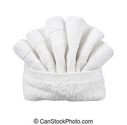 Folded Washcloth isolated on white.
