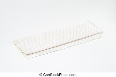 Folded white cotton placemat - Handmade woven ribbed white...