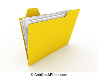 Folder - 3D rendered Illustration. Isolated on white.