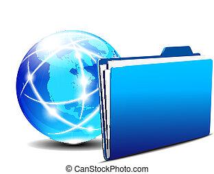 Network concept, Communication Internet Globe and folder