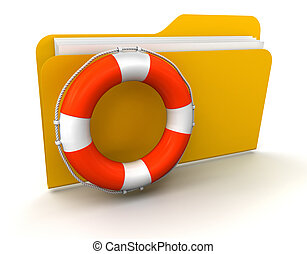 Folder and Lifebuoy. Image with clipping path