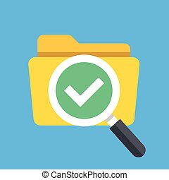 Folder and magnifying glass with tick checkmark icon. Modern flat design vector illustration