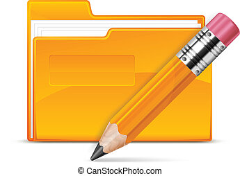 Folder and pencil, isolated on white background vector...