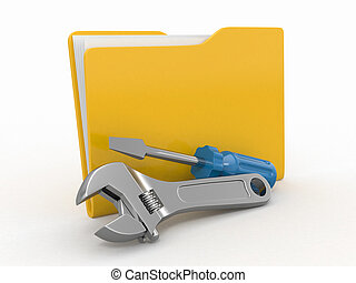 Folder and tools. 3d - Folder and tools on white isolated...