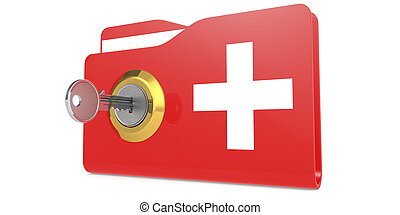 folder., bezpieczeństwo, medyczny, odblokować, pojęcie, dane