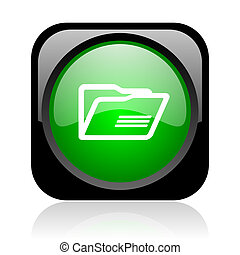 folder black and green square web glossy icon