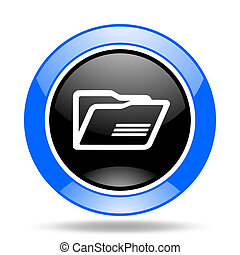 folder blue and black web glossy round icon