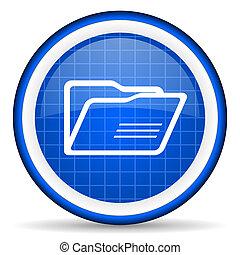 folder blue glossy icon on white background