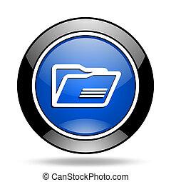 folder blue glossy icon