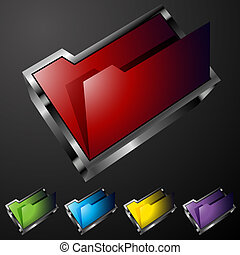 Folder Buttons - An image of 3d folder buttons.