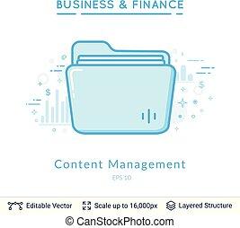 Folder content management symbol on white.