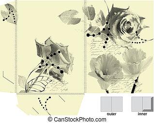 Template for folder with original floral element