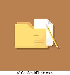 Folder document flat design vector icon