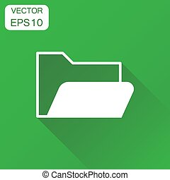Folder document icon. Business concept archive data file symbol pictogram. Vector illustration on green background with long shadow.