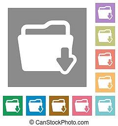 Folder download square flat icons