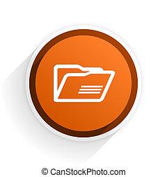 folder flat icon with shadow on white background, orange modern design web element