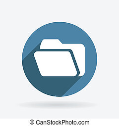 folder for documents. Circle blue icon with shadow.