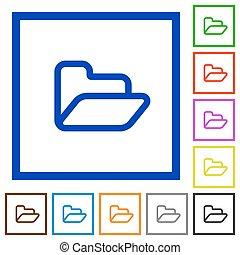 Folder framed flat icons