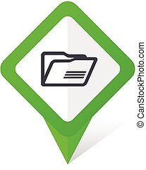 Folder green square pointer vector icon in eps 10 on white background with shadow.