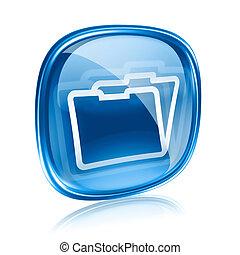 Folder icon blue glass, isolated on white background