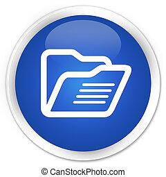 Folder icon blue glossy round button