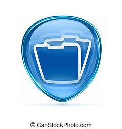Folder icon blue, isolated on white background