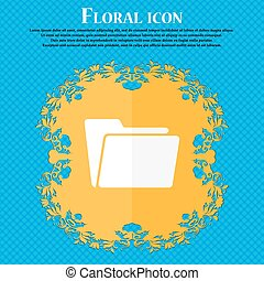 Folder icon. Floral flat design on a blue abstract background with place for your text. Vector