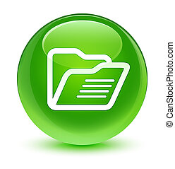 Folder icon glassy green round button