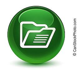 Folder icon glassy soft green round button