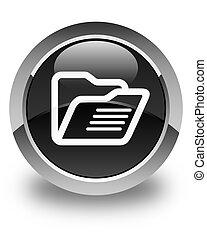 Folder icon glossy black round button