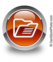 Folder icon glossy brown round button
